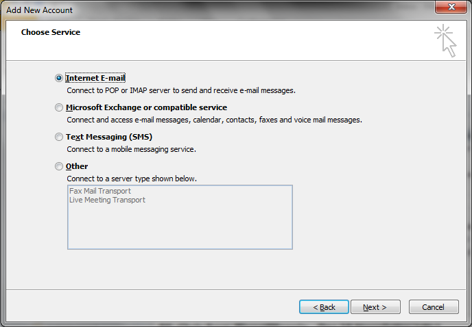 outlook2010 internet email