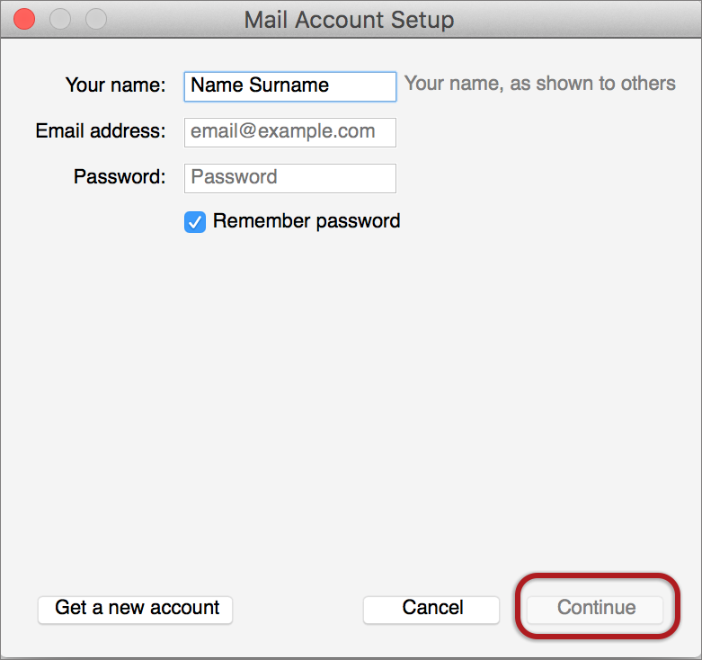 thunderbird mac account setup