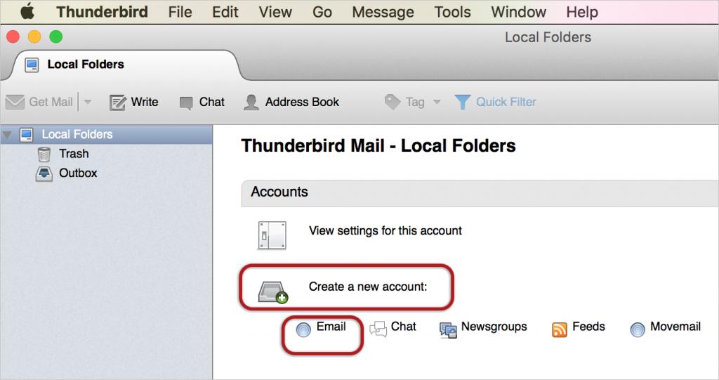 Thunderbird Mac email setup