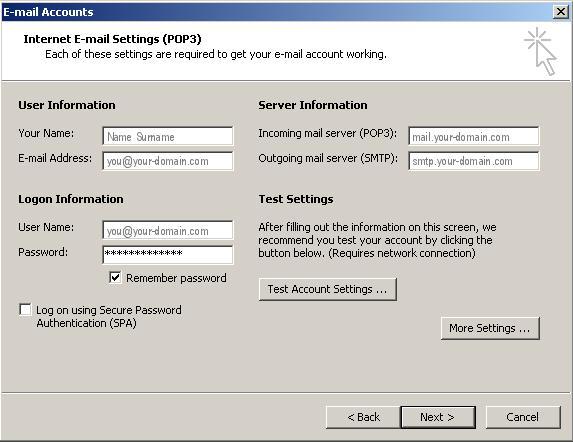 POP3 Outlook 2002 / 2003